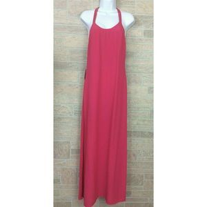 Forever 21 Hot Pink Maxi Dress Size XS Open Back